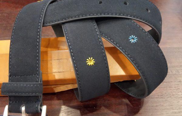 Cinturón Leyva piel ante azul