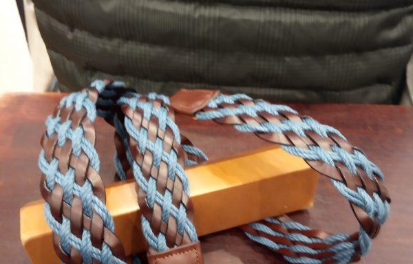 Cinturón Leyva piel trenzado marrón